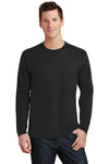 Port & Company PC450LS Mens Fan Favorite Long Sleeve Crewneck T-Shirt Black Front