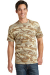Port & Company PC54C Mens Core Short Sleeve Crewneck T-Shirt Desert Camo Front