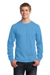 Port & Company PC54LS Mens Core Long Sleeve Crewneck T-Shirt Aqua Blue Front