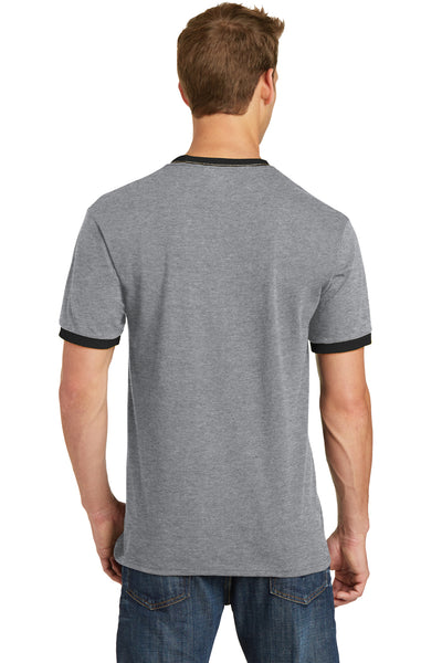 Port & Company PC54R Mens Core Ringer Short Sleeve Crewneck T-Shirt Heather Grey/Black Back