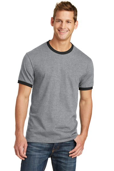 Port & Company PC54R Mens Core Ringer Short Sleeve Crewneck T-Shirt Heather Grey/Black Front