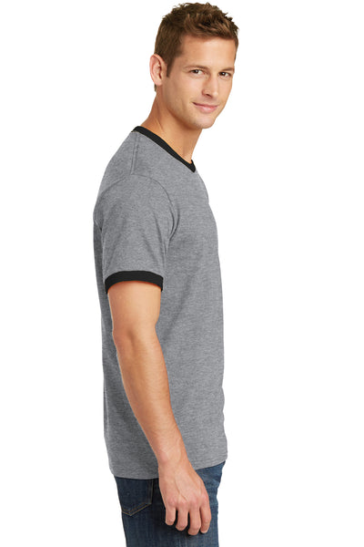 Port & Company PC54R Mens Core Ringer Short Sleeve Crewneck T-Shirt Heather Grey/Black Side
