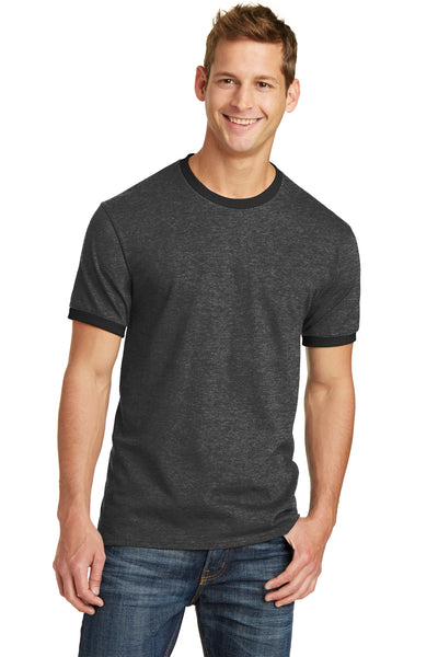 Port & Company PC54R Mens Core Ringer Short Sleeve Crewneck T-Shirt Heather Dark Grey/Black Front