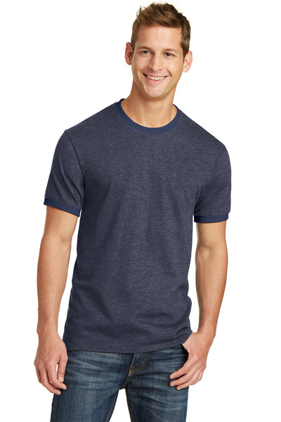 Port & Company PC54R Mens Core Ringer Short Sleeve Crewneck T-Shirt Heather Navy Blue/Navy Blue Front