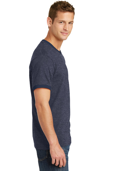 Port & Company PC54R Mens Core Ringer Short Sleeve Crewneck T-Shirt Heather Navy Blue/Navy Blue Side