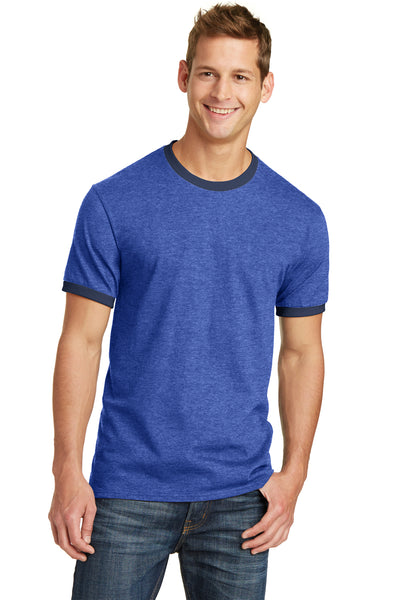 Port & Company PC54R Mens Core Ringer Short Sleeve Crewneck T-Shirt Heather Royal Blue/Navy Blue Front