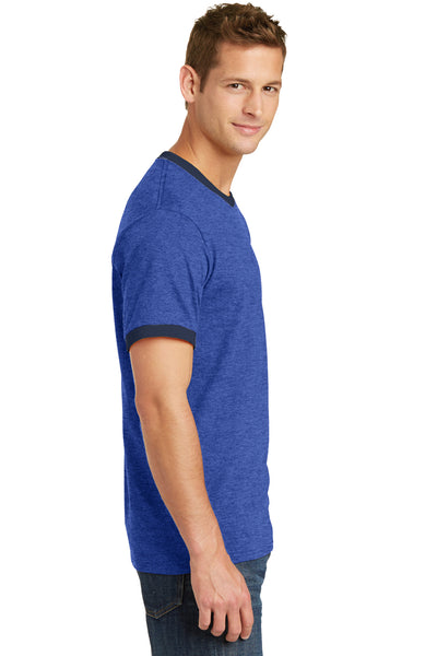 Port & Company PC54R Mens Core Ringer Short Sleeve Crewneck T-Shirt Heather Royal Blue/Navy Blue Side