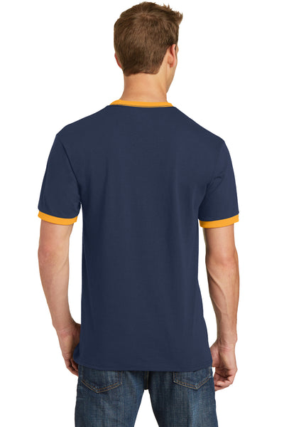 Port & Company PC54R Mens Core Ringer Short Sleeve Crewneck T-Shirt Navy Blue/Gold Back