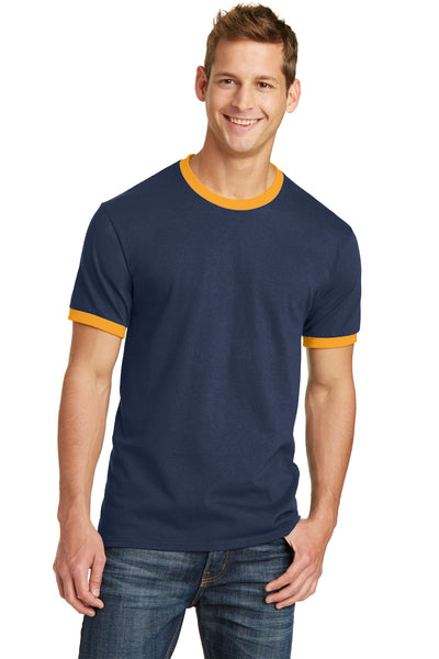 Port & Company PC54R Mens Core Ringer Short Sleeve Crewneck T-Shirt Navy Blue/Gold Front