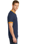 Port & Company PC54R Mens Core Ringer Short Sleeve Crewneck T-Shirt Navy Blue/Gold Side