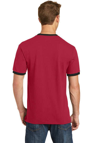 Port & Company PC54R Mens Core Ringer Short Sleeve Crewneck T-Shirt Red/Black Back