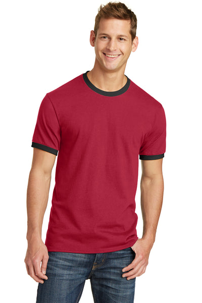 Port & Company PC54R Mens Core Ringer Short Sleeve Crewneck T-Shirt Red/Black Front