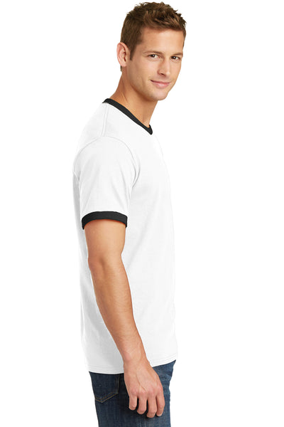 Port & Company PC54R Mens Core Ringer Short Sleeve Crewneck T-Shirt White/Black Side