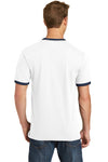Port & Company PC54R Mens Core Ringer Short Sleeve Crewneck T-Shirt White/Navy Blue Back