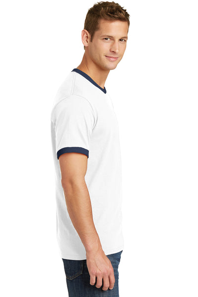 Port & Company PC54R Mens Core Ringer Short Sleeve Crewneck T-Shirt White/Navy Blue Side