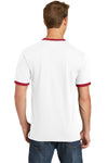 Port & Company PC54R Mens Core Ringer Short Sleeve Crewneck T-Shirt White/Red Back