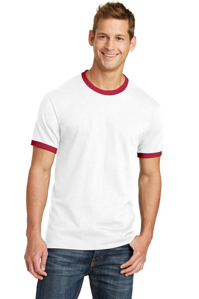 Port & Company PC54R Mens Core Ringer Short Sleeve Crewneck T-Shirt White/Red Front