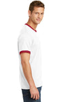 Port & Company PC54R Mens Core Ringer Short Sleeve Crewneck T-Shirt White/Red Side