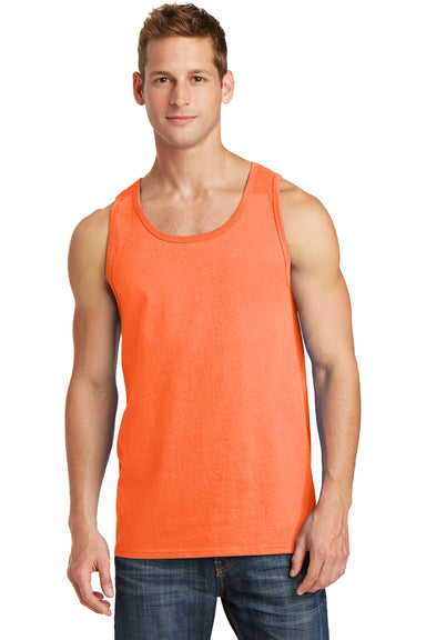 Port & Company PC54TT Mens Core Tank Top Neon Orange Front