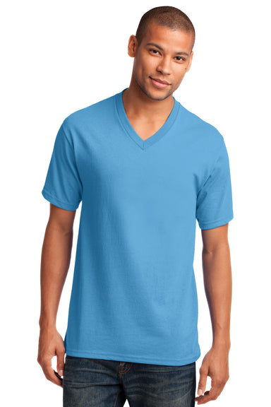 Port & Company PC54V Mens Core Short Sleeve V-Neck T-Shirt Aqua Blue Front