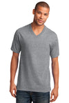 Port & Company PC54V Mens Core Short Sleeve V-Neck T-Shirt Heather Grey Front