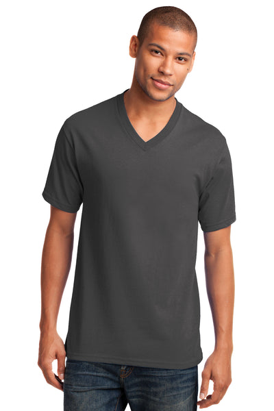 Port & Company PC54V Mens Core Short Sleeve V-Neck T-Shirt Charcoal Grey Front