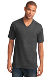 Port & Company PC54V Mens Core Short Sleeve V-Neck T-Shirt Heather Dark Grey Front