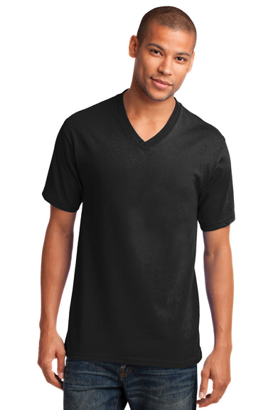 Port & Company PC54V Mens Core Short Sleeve V-Neck T-Shirt Black Front