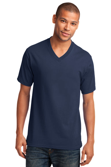 Port & Company PC54V Mens Core Short Sleeve V-Neck T-Shirt Navy Blue Front