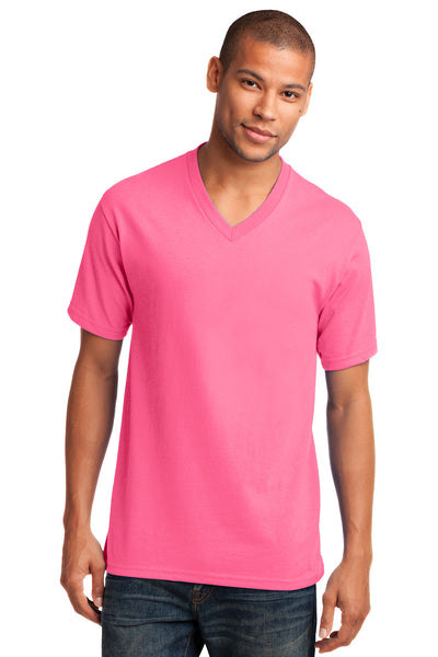 Port & Company PC54V Mens Core Short Sleeve V-Neck T-Shirt Neon Pink Front