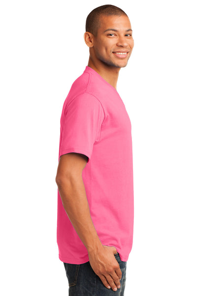Port & Company PC54V Mens Core Short Sleeve V-Neck T-Shirt Neon Pink Side