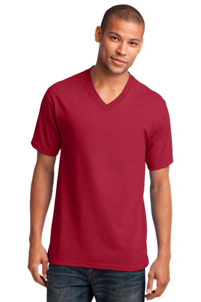 Port & Company PC54V Mens Core Short Sleeve V-Neck T-Shirt Red Front