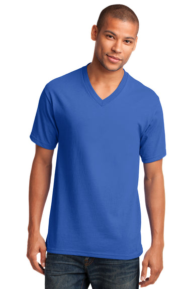 Port & Company PC54V Mens Core Short Sleeve V-Neck T-Shirt Royal Blue Front