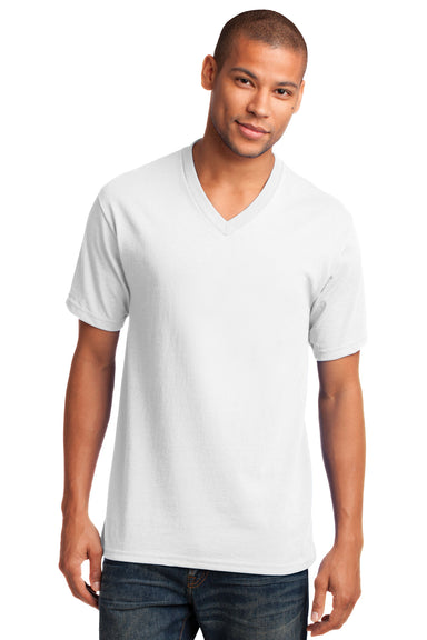 Port & Company PC54V Mens Core Short Sleeve V-Neck T-Shirt White Front