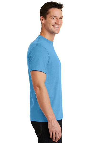 Port & Company PC55 Mens Core Short Sleeve Crewneck T-Shirt Aqua Blue Side