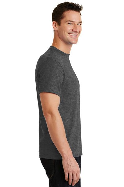 Port & Company PC55 Mens Core Short Sleeve Crewneck T-Shirt Heather Dark Grey Side