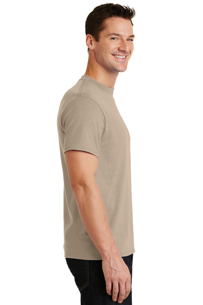 Port & Company PC55 Mens Core Short Sleeve Crewneck T-Shirt Sand Brown Side