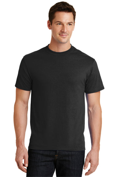 Port & Company PC55 Mens Core Short Sleeve Crewneck T-Shirt Black Front