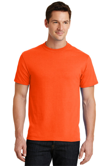 Port & Company PC55 Mens Core Short Sleeve Crewneck T-Shirt Safety Orange Front