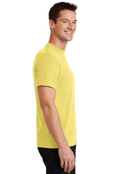 Port & Company PC55 Mens Core Short Sleeve Crewneck T-Shirt Yellow Side