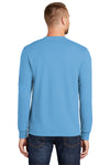 Port & Company PC55LS Mens Core Long Sleeve Crewneck T-Shirt Aqua Blue Back