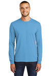 Port & Company PC55LS Mens Core Long Sleeve Crewneck T-Shirt Aqua Blue Front