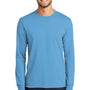 Port & Company Mens Core Long Sleeve Crewneck T-Shirt - Aquatic Blue