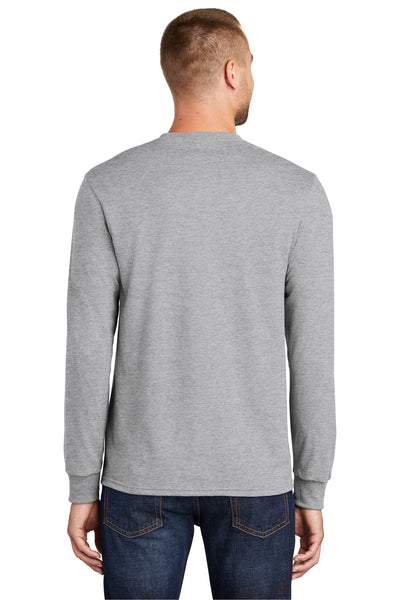 Port & Company PC55LS Mens Core Long Sleeve Crewneck T-Shirt Ash Grey Back