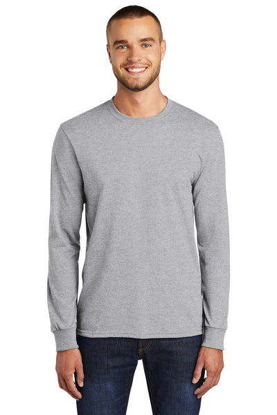 Port & Company PC55LS Mens Core Long Sleeve Crewneck T-Shirt Ash Grey Front