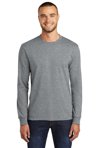 Port & Company PC55LS Mens Core Long Sleeve Crewneck T-Shirt Heather Grey Front