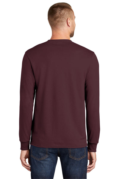 Port & Company PC55LS Mens Core Long Sleeve Crewneck T-Shirt Maroon Back