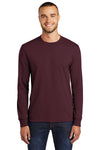 Port & Company PC55LS Mens Core Long Sleeve Crewneck T-Shirt Maroon Front