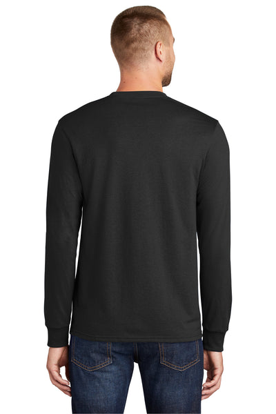 Port & Company PC55LS Mens Core Long Sleeve Crewneck T-Shirt Black Back