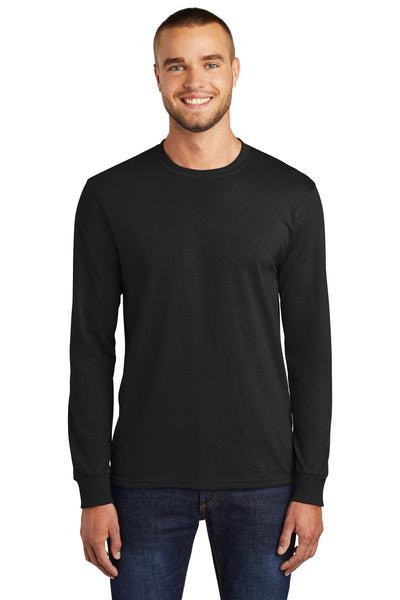 Port & Company PC55LS Mens Core Long Sleeve Crewneck T-Shirt Black Front